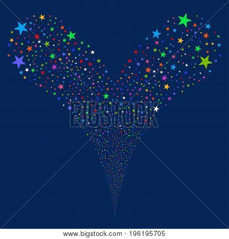 Confetti Star fireworks stream. Vector illustration style is flat bright multicolored iconic confetti star symbols on a blue background. Object fountain organized from random pictograms.