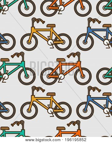Bicycle Pattern Outline Style. Bmx Linear Style Background Ornament