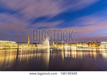 Hamburg And Alster Lake Night View, Long Exposure