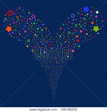 Decoration Stars fireworks stream. Vector illustration style is flat bright multicolored iconic decoration stars symbols on a blue background. Object fountain combined from random design elements.