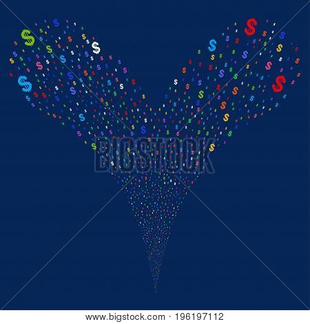 Dollar source stream. Vector illustration style is flat bright multicolored iconic dollar symbols on a blue background. Object fountain made from random pictograms.