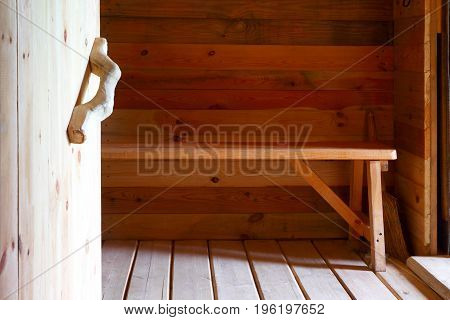 Wooden interior. Eco-friendly design.Construction of private objects from natural materials.