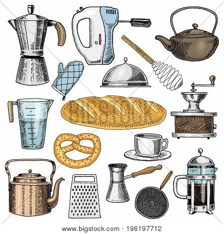 Grater and whisk, frying pan, Coffee maker or grinder, french press, mixer and baked loaf. kitchen utensils, cooking stuff for menu decoration. engraved hand drawn in old sketch and vintage style