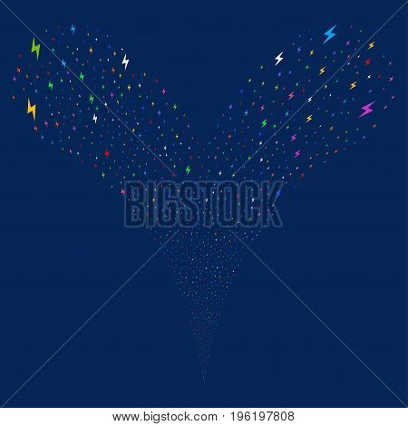 Electric Bolt explosive stream. Vector illustration style is flat bright multicolored iconic electric bolt symbols on a blue background. Object fountain done from random design elements.