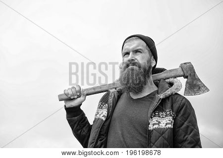 Man Hipster Or Guy With Beard And Moustache Holding Axe
