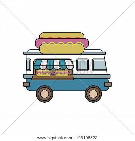 Hot Dog Van Illustration Of Street Food. Line Art Design.