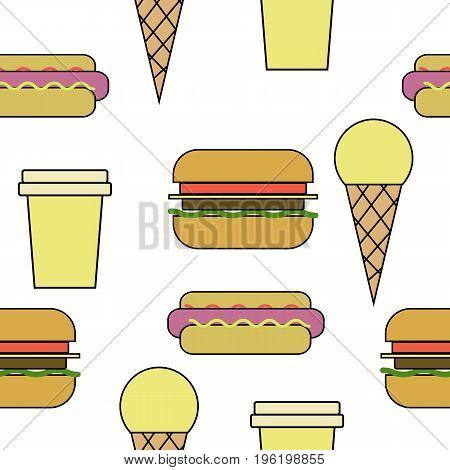 Vector Drawn Seamless Pattern Of Line Art Fast Food. Ice-cream, Hamburger, Hot Dog, Coffee.