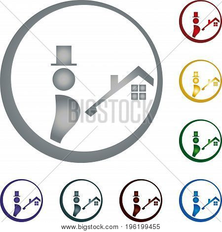 Chimney sweep and house, roof, chimney sweep and professional logo