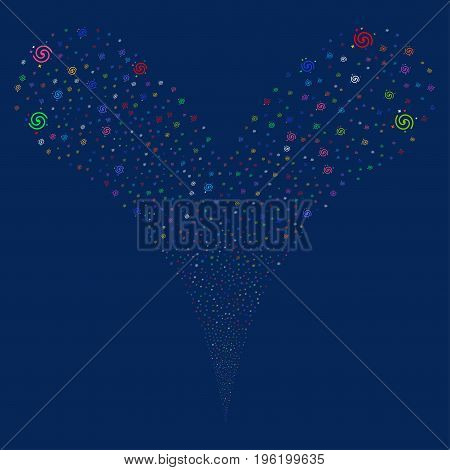 Galaxy explosive stream. Vector illustration style is flat bright multicolored iconic galaxy symbols on a blue background. Object fountain organized from random pictograms.
