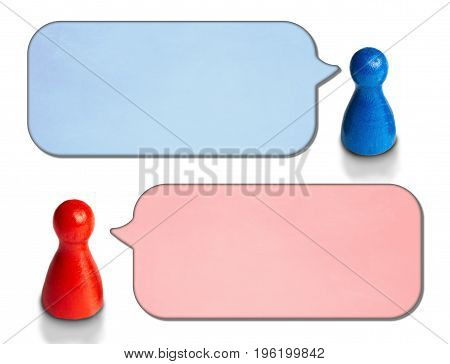 Game figures with angled speech bubbles isolated on white background. Concept for discussion, chat, communication