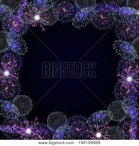 Frame from fireworks, vector illustration holiday art.
