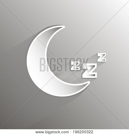 Paper Moon with a sign of sleep, vector art illustration.