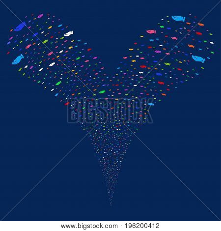 Hand fireworks stream. Vector illustration style is flat bright multicolored iconic hand symbols on a blue background. Object fountain made from random pictographs.