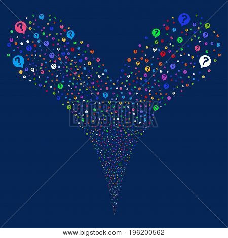 Help Balloon explosive stream. Vector illustration style is flat bright multicolored iconic help balloon symbols on a blue background. Object fountain constructed from random pictograms.