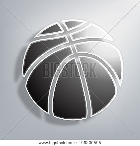 Paper basketball on a paper background, vector art illustration.