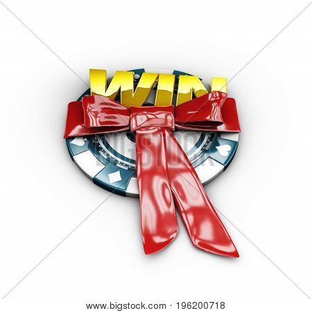3D Illustration Of Jackpot Winner. Gold Win