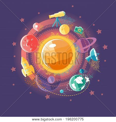Flat illustration of solar system and space flights