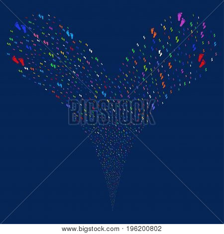 Human Steps source stream. Vector illustration style is flat bright multicolored iconic human steps symbols on a blue background. Object fountain done from random symbols.