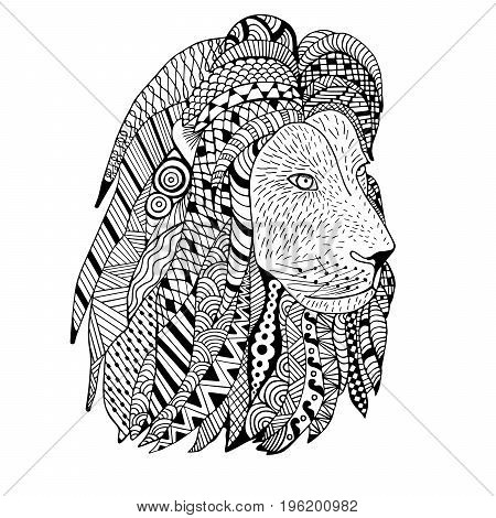 Lion head hand drawn. Doodle . Object isolated on white.