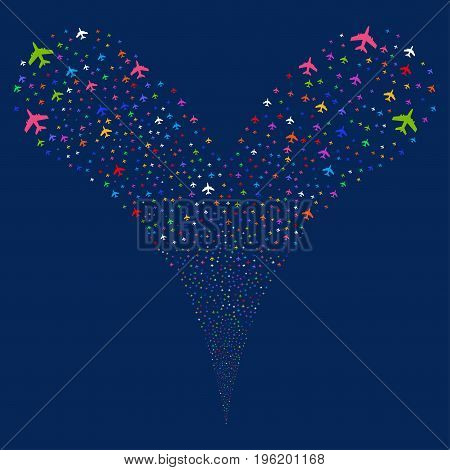 Jet Plane salute stream. Vector illustration style is flat bright multicolored iconic jet plane symbols on a blue background. Object fountain combined from random pictographs.