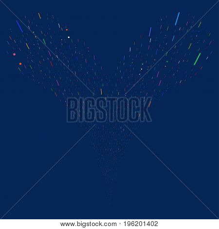 Lines And Dots explosive stream. Vector illustration style is flat bright multicolored iconic lines and dots symbols on a blue background. Object fountain done from random design elements.