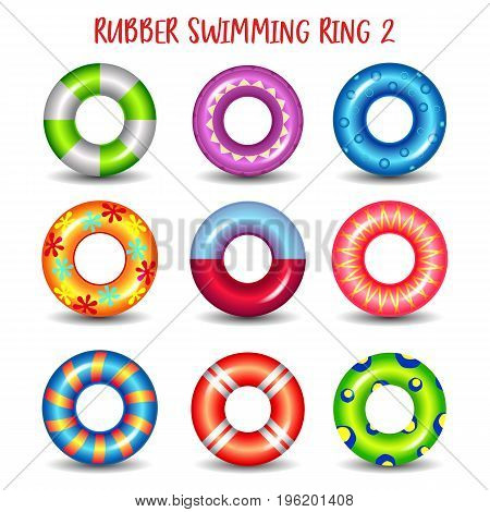 Rubber swimming rings with geometric patterns. Set of isolated life saving floating lifebuoy for beach or ship, rescue belt for saving people. Water and beach theme, secure icons