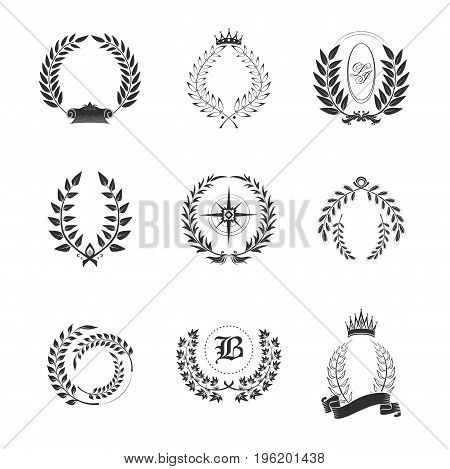 Leaf ornaments for generic or tribal, family sign with emblems. Laurel wreath or branch with leaves for champion or winner award, victory or success sign, competition prize. Heraldic and floral theme