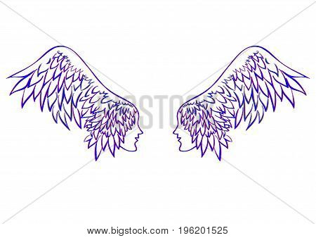 vector angel wings. profile human faces on the wings - hair linen vector illustration for banner card cover