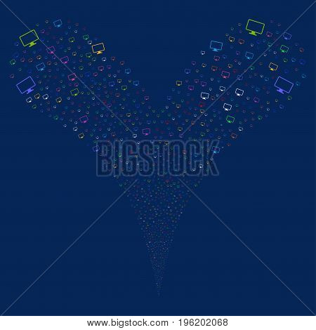 Monitor explosive stream. Vector illustration style is flat bright multicolored iconic monitor symbols on a blue background. Object fountain organized from random pictograms.