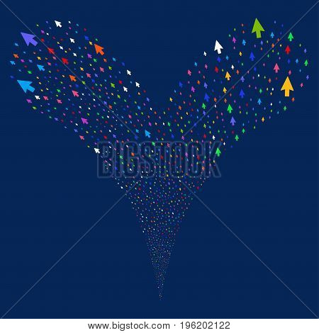 Mouse Cursor explosive stream. Vector illustration style is flat bright multicolored iconic mouse cursor symbols on a blue background. Object fountain constructed from random pictographs.