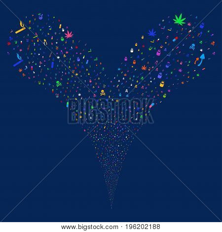 Narcotic Drugs fireworks stream. Vector illustration style is flat bright multicolored iconic narcotic drugs symbols on a blue background. Object fountain created from random icons.