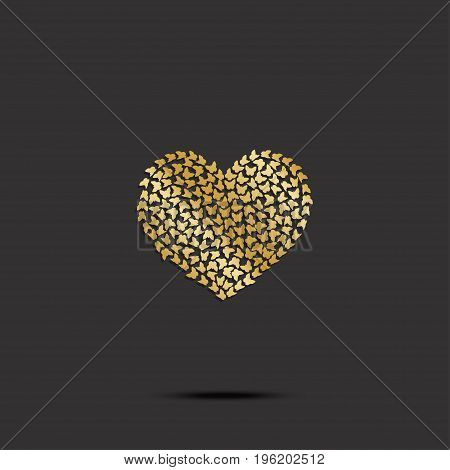 Butterflies from gold heart on black background. Vector illustration