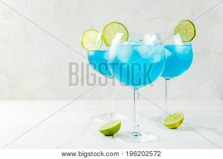 Blue Alcohol Cocktail With Lime