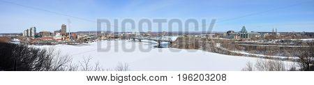 Gatineau skyline panorama in winter, Photo taken from Ottawa Parliament Hill, Ottawa, Ontario, Canada.