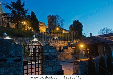 Church inside Kalemegdan fortress at night in Belgrade, Serbia