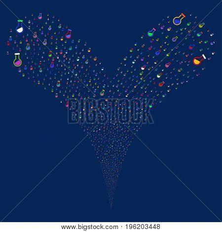 Retort salute stream. Vector illustration style is flat bright multicolored iconic retort symbols on a blue background. Object fountain combined from random pictographs.