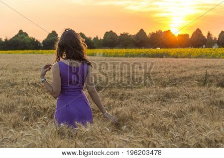 Young caucasian woman with long hairs at grain field