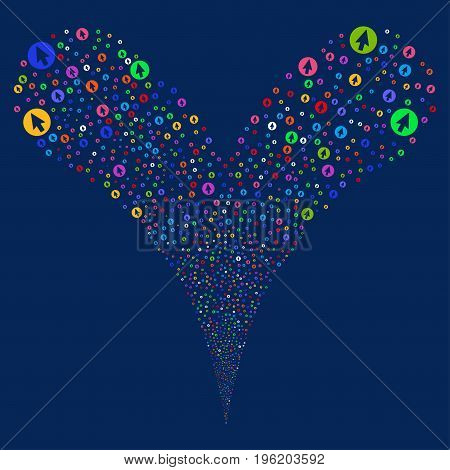 Rounded Arrow fireworks stream. Vector illustration style is flat bright multicolored iconic rounded arrow symbols on a blue background. Object fountain created from random pictographs.