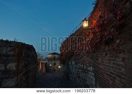 Narrow cobblestone path with an old fashioned lantern inside Kalemegdan fortress at blue hour, Belgrade, Serbia