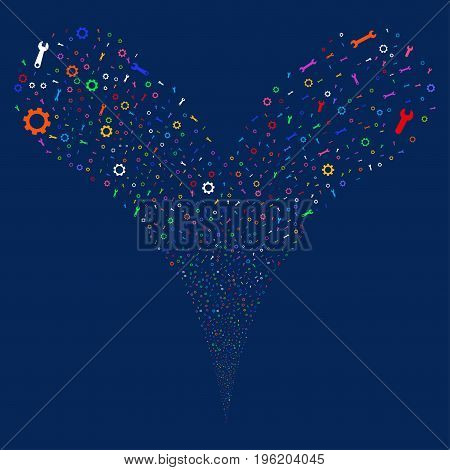 Setup Tools fireworks stream. Vector illustration style is flat bright multicolored iconic setup tools symbols on a blue background. Object fountain created from random icons.