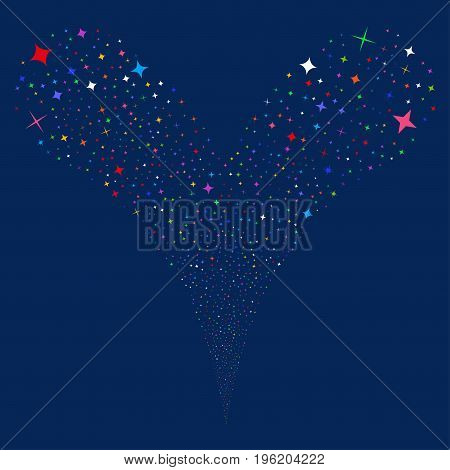 Shine Stars source stream. Vector illustration style is flat bright multicolored iconic shine stars symbols on a blue background. Object fountain made from random pictograms.