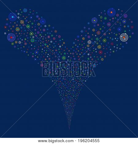 Solar System source stream. Vector illustration style is flat bright multicolored iconic solar system symbols on a blue background. Object fountain done from random design elements.
