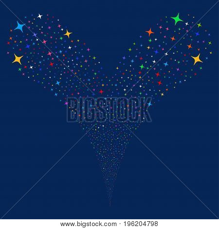 Space Star fireworks stream. Vector illustration style is flat bright multicolored iconic space star symbols on a blue background. Object fountain made from random pictograms.