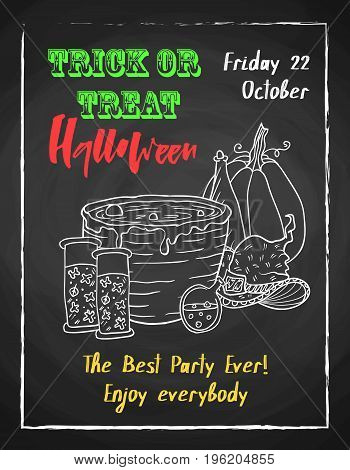 Halloween holiday chalk poster for party. Textured blackboard and witch accessories, pot with potion, pumpkin and hat. Trick or threat. Template for advertising design.