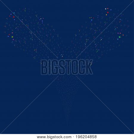 Space Stars fireworks stream. Vector illustration style is flat bright multicolored iconic space stars symbols on a blue background. Object fountain done from random icons.