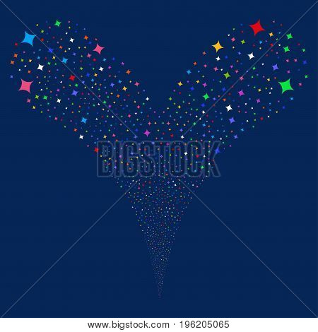 Sparcle Star fireworks stream. Vector illustration style is flat bright multicolored iconic sparcle star symbols on a blue background. Object fountain made from random pictographs.