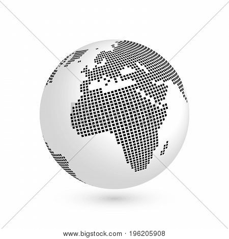 Planet Earth globe with black squared map of continents Africa and Europe. 3D vector illustration with shadow isolated on white background.