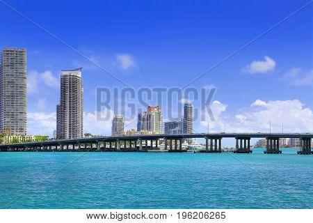 View of South Beach Miami with MacArthur Causeway Bridge