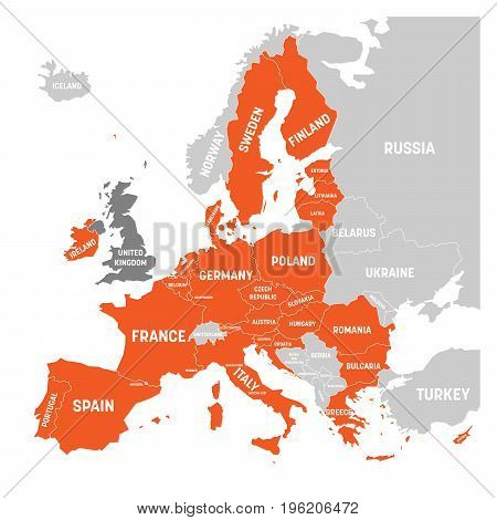 Map of Europe with orange highlighted EU member states and United Kingdom in different color. Vector illustration. Simplified map of European Union.