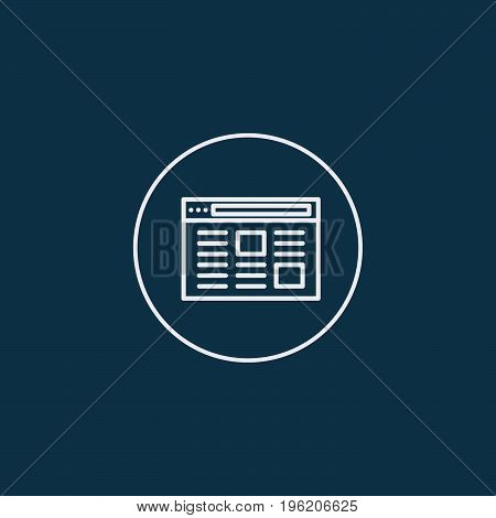 Webpage icon on blue background. Vector illustration